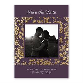 Vintage Flair - Gold - Foil Save the Date Card