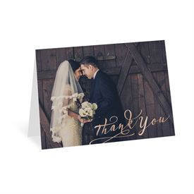 Rustic Glow - Rose Gold Foil - Thank You Card
