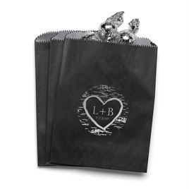 Birch Tree Carvings - Black - Favor Bags