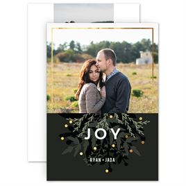 Holiday Cards for Families: Winter Greens Foil Holiday Card
