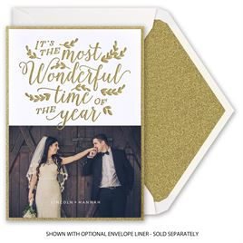 Most Wonderful Time - Real Glitter and Laser Cut Holiday Card