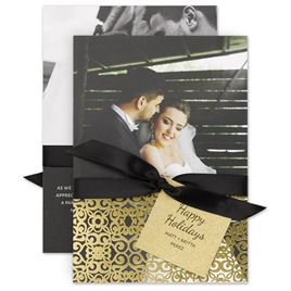 Holiday Cards for Families: Gold Details Real Glitter and Foil Holiday Card