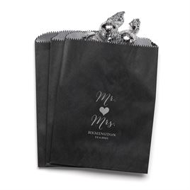 Mr and Mrs - Black - Favor Bags