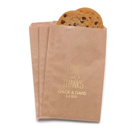 Love and Thanks - Kraft - Favor Bags