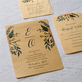 Floral Fancy - Real Wood Invitation