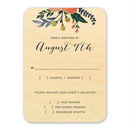 Wedding Response Cards: Floral Fancy Real Wood Response Card