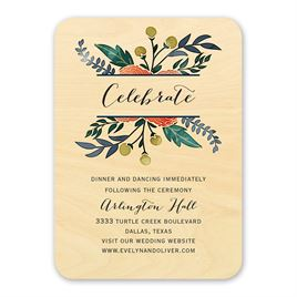 Wedding Reception and Information Cards: Floral Fancy Real Wood Reception Card