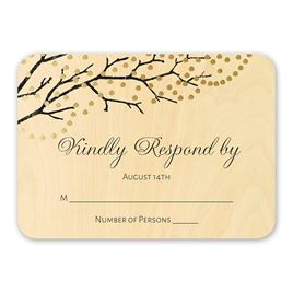 Wedding Response Cards: Sparkling Canopy Real Wood Response Card with Foil