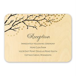 Wedding Reception and Information Cards: Sparkling Canopy Real Wood Reception Card with Foil