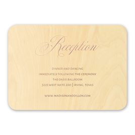 Wedding Reception and Information Cards: Elegance Engrained Real Wood Reception Card with Foil