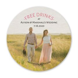 Free Drinks - Save the Date Coaster