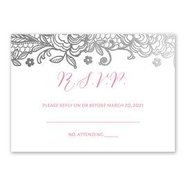Glamorous Lace - Silver - Foil Response Card