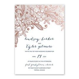 Glamorous Lace - Rose Gold - Foil Invitation