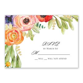 Wedding Response Cards: Wildflower Burst Foil Response Card