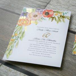 Wildflower Burst - Gold - Foil Invitation