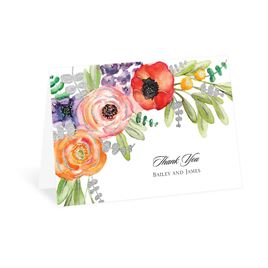 Wildflower Burst - Silver - Foil Thank You Card