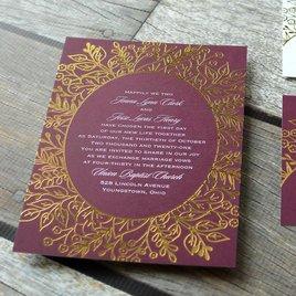 Foliage Frame - Gold - Foil Invitation
