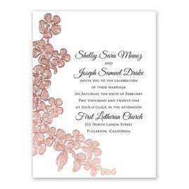 Wedding Invitations: Rose Gold Blossoms Petite Invitation