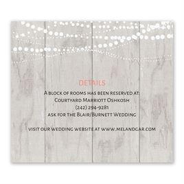 Wedding Reception and Information Cards: Rustic Lights Information Card