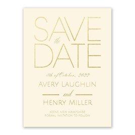 Shining Date - Ecru - Foil Save the Date Card