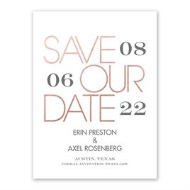 Mixed Message - White - Foil Save the Date Card