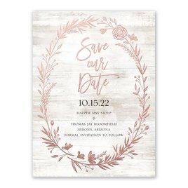 Farmhouse Frame - Rose Gold - Foil Save the Date Card