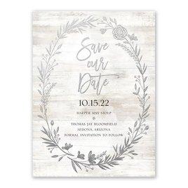Farmhouse Frame - Silver - Foil Save the Date Card