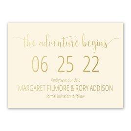 Adventure Begins - Ecru - Foil Save the Date Card