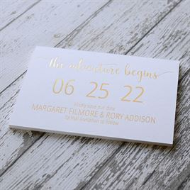 Adventure Begins - White - Foil Save the Date Card