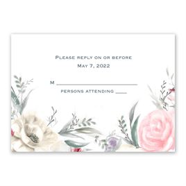 Pale Roses - Silver - Foil Response Card and Envelope