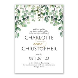 Sparkling Greenery Foil Invitation