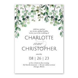 Sparkling Greenery - Silver - Foil Invitation
