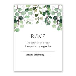 Sparkling Greenery - Silver - Foil Response Card