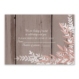 Shimmering Branches - Rose Gold - Foil Response Card