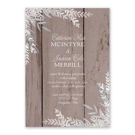 Shimmering Branches - Silver - Foil Invitation