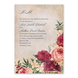 Floral Flourish - Gold - Foil Invitation