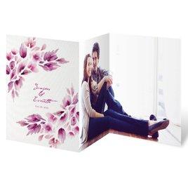 Watercolor Blooms - Raspberry - Trifold Invitation