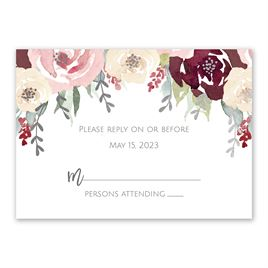 Blooms in Burgundy - Silver - Foil Response Card