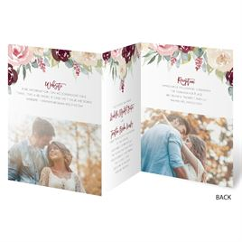 Blooms in Burgundy - Gold - Foil Trifold Invitation