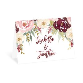 Thank You Cards: Blooms in Burgundy Foil Thank You Card