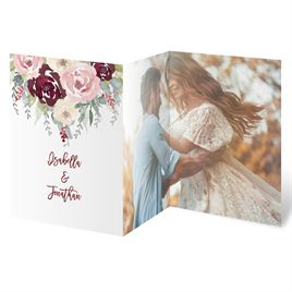 Blooms in Burgundy - Silver - Foil Trifold Invitation