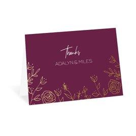 Sketched Botanical - Gold - Foil Thank You Card