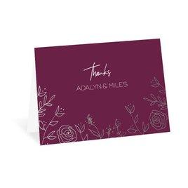 Sketched Botanical - Silver - Foil Thank You Card