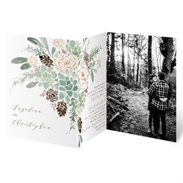 Winter in Bloom - Rose Gold - Foil Trifold Invitation