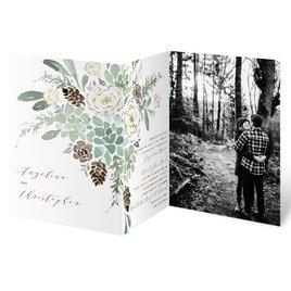 Winter in Bloom - Silver - Foil Trifold Invitation