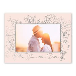 Shine in Floral - Silver - Foil Save the Date Card