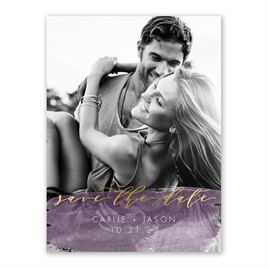 Brushed Grapevine Foil Save the Date Card