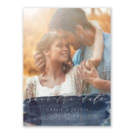 Brushed Navy - Silver - Foil Save the Date Card