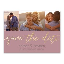 Calligraphy Glow - Gold - Foil Save the Date Card