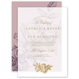 Vintage Rose Layered Vellum Invitation